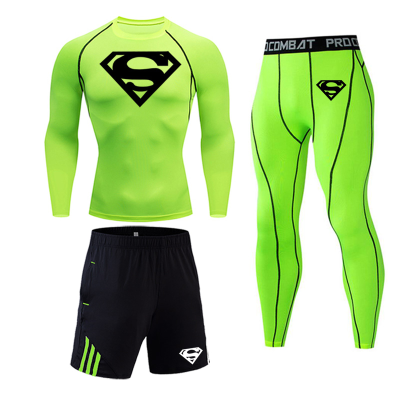 Superman Running Tights Gym Set MMA Tactical Leggings Fitness T-shirt Rashgard Male 2/3 Pieces Set Quick-drying Jogger Set Men