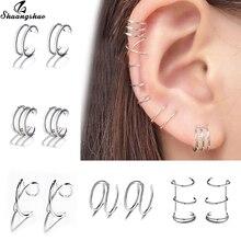 Shuangshuo Silver Fake Earrings for Women Fashion Geometric Retractable Earrings