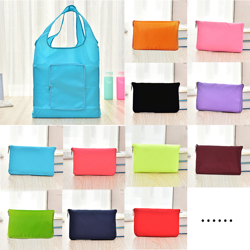 12 Colors Reusable Shopping Bag Lady Foldable Oxford EcoTote Bag Solid Color Eco Shopper Bags Ladies Grocery Bag Shopping Bags