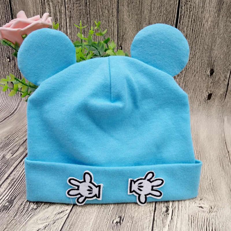 1Pcs 42-48 ซม.ทารกแรกเกิดผ้าฝ้ายแมวหูหมวกใหม่เด็กหมวกสำหรับทารกเด็กถัก Beanies หมวก