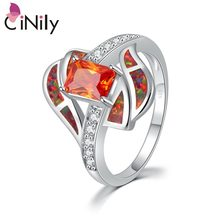 Cinily Oranje Fire Opal Stone Cz Crystal Gevuld Vinger Ringen Verzilverd Solar Rood Ganet Luxe Cocktail Party Sieraden Vrouw(China)