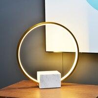 LukLoy Modern LED Light Nordic Metal Ring Table Lamp Living Room Bedside Table Light Luxury Marble Lamp Bedroom Bedside Study