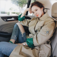 Letter Flower Embroidery Long Casual Trench Coat Women Doubl