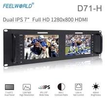 Feelworld D71-H Dual 7 Inch Monitor 3RU IPS 1280 x 800 HDMI LCD Rack Mount Monitor Portable