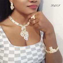 Fani nigeryjczyk ślub kobieta akcesoria zestaw biżuterii hurtownia włoska zestaw biżuterii ślubnej dubai złoty kolor zestaw biżuterii marki tanie tanio Ze stopu cynku Dziewczyny Zakochanych Unisex Kobiety Metal Naszyjnik kolczyki bransoletka Zestawy biżuterii Moda TRENDY