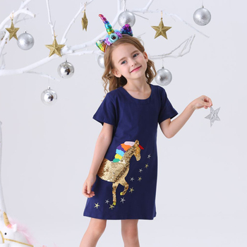 цена на Kids Unicorn Dresses Toddler Dresses for Girls Cotton Clothes Girls Princess Dress Children Licorne Clothing Baby Girl Dress