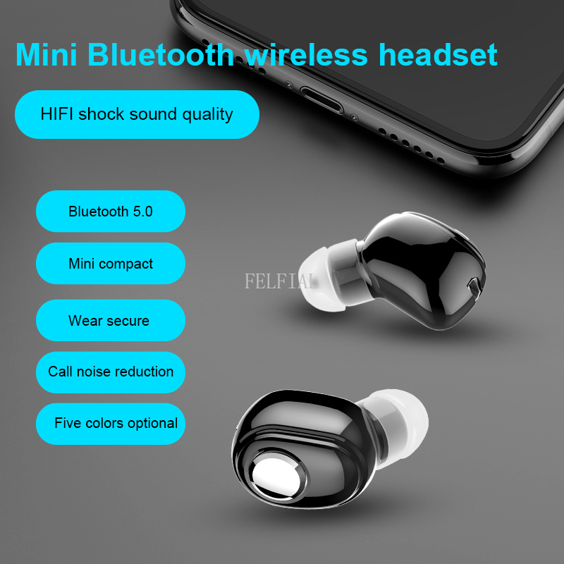 Mini Wireless Bluetooth Earphone V5.0 Stereo in-ear Headset with Mic Sports Running Earbuds Earphones for Android IOS all phone image