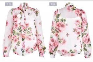 Image 3 - ニューデリー reba スターシックなブラウス牡丹プリント薄型シフォンホーン袖シャツサイズ s 3xl