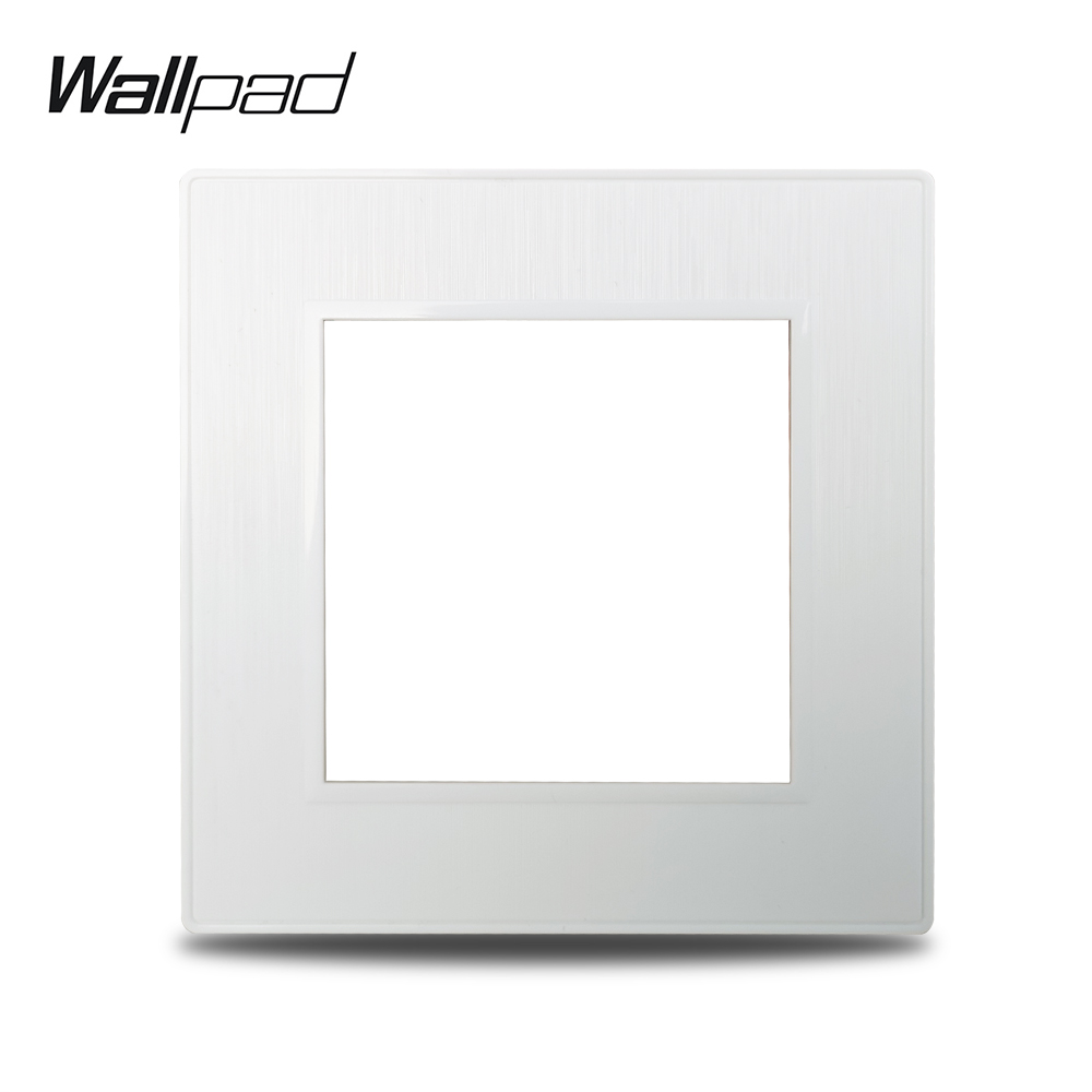 Wallpad S6 DIY Single White Panel Brushed PC Plastic For Wall Switch Socket Imitating Aluminum Plate Free Combination, 86*86mm