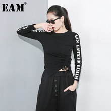 [EAM] Women Letter Drawstring Asymmetric Short T-shirt New Round Neck Long Sleeve Fashion Tide Spring Autumn 2019 1A817(China)