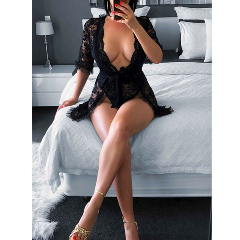 Hirigin Summer Women Sexy Lingerie Erotic Sex See-through  Lace Ruffles Deep V-Neck Black Robe Mini Dress Sleepwear Costume