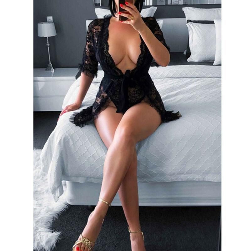 Hirigin Summer Women Sexy Lingerie Erotic Sex See-through  Lace Ruffles Deep V-Neck Black Robe Mini Dress Sleepwear Costume