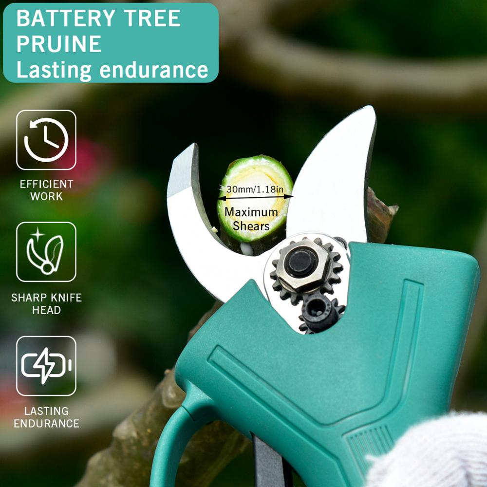 Garden Electric Pruner Pruning Rechargeable Scissors 30mm Battery Lithium Electric Pruner Shears Professional 0 Pruning 21V