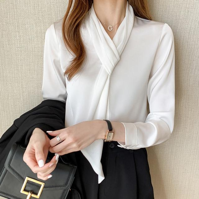 Chikichi 2021 Korean White Chiffon Shirt Women Spring and Autumn Tops Office Ladies Satin Blouse Women Long Sleeve 1