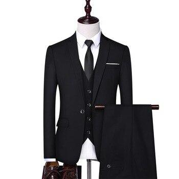3 piece suits men Suit suit men's three-piece business suit Korean slim fit suit groom groomsman group men's wedding dress