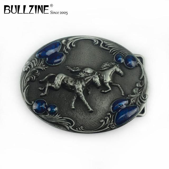 Bullzine batı çinko alaşım koşu at kemer tokası kalay kaplama FP 03388 kovboy kot hediye kemer tokası