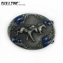 Bullzine western zinc alloy running horse belt buckle pewter  finish FP 03388 cowboy jeans gift belt buckle