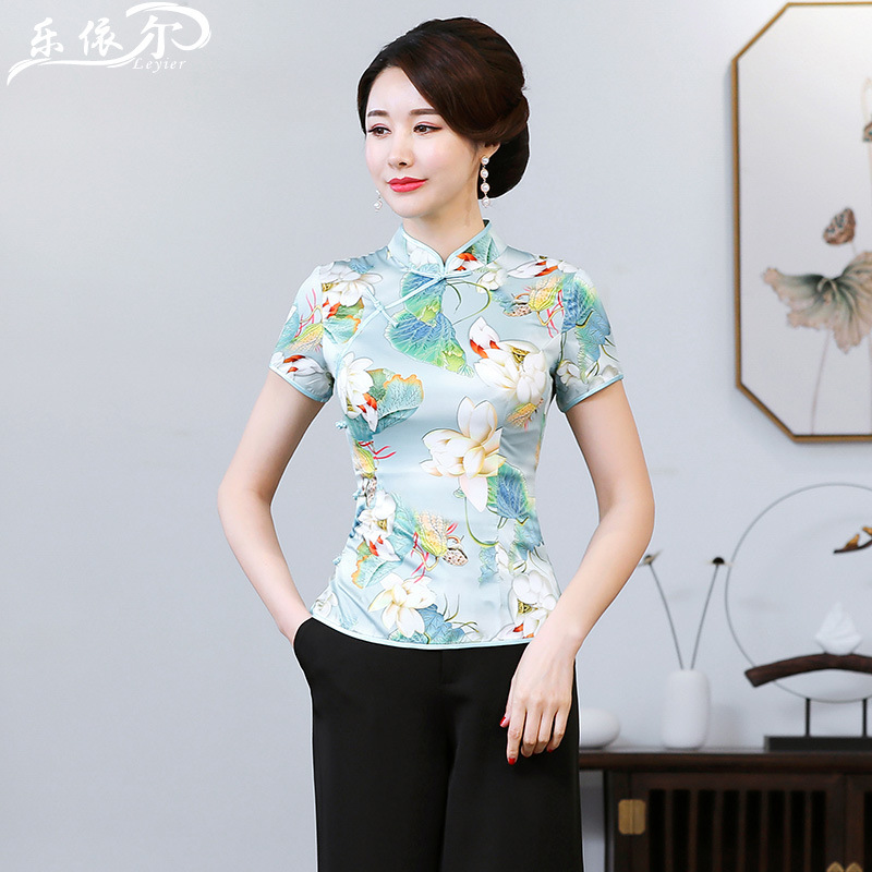 Summer Improved Chinese Costume Cheongsam Tops Short-Style Cheongsam Two-Piece Set Short Sleeve Middle-aged Women Dress Loose Pa