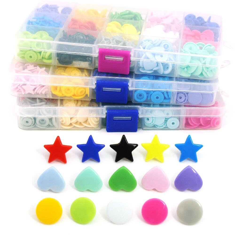 Пластиковые кнопки для одежды T3/T5, 150 комплектов, пластиковые кнопки для одежды, круглые/сердечные/Звездные кнопки, застежки KAM для творчеств...