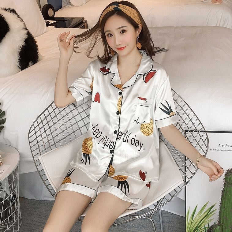 New Products Silk Pajamas Women's Summer Imitated Silk Fabric Cardigan Fold-down Collar Short Sleeve Couples Pajamas Female Summ