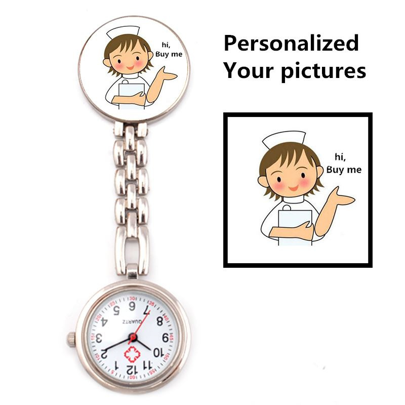 Personalized Pictures Customized Logo Stainless Steel Pocekt Watches Brooch TOP Quality Silver Rose Gold Fob Nurse Watch