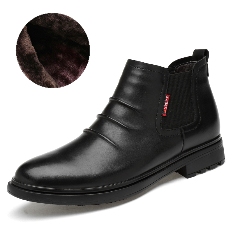 Top Quality Winter Boots Size 35-47  Genuine Leather Handmade Brand Warmest Chelsea Boots Men #XH6388
