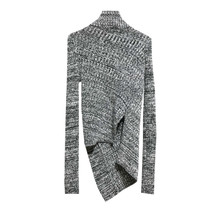 Women's Sweater Casual Turtleneck Long Sleeve Irregular Hem Knitted Pullover Sweaters Pull Femme Sueter Mujer Invierno 2019 pullover frayed hem knitted top