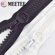 Meetee 20# 60/75/80/100/150/200CM Extra Large Resin Zippers White&black Open-end for Down Jacket Coat Pocket Zipper Slider AP547