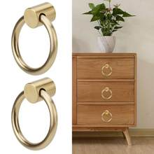 2Pcs Vintage Brass Jewelry Box Handle Ring Kitchen Cabinet Wardrobe Furniture Door Pull Knob drawer handles(China)