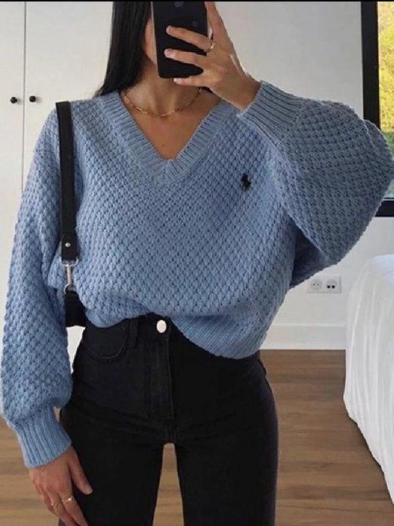 Женский свободный свитер в стиле Харадзюку, откровенный пуловер с V-образным вырезом, большие размеры, весна-осень 2021