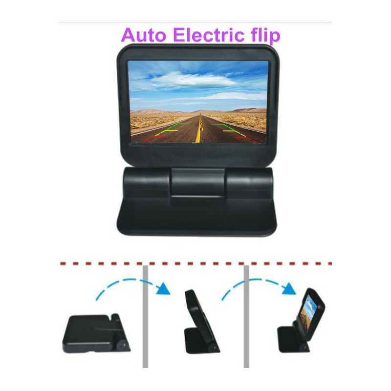 Car video monitor 5 inch Full automatic car parking monitor Foldable on dash stand HD video display with CVBS input angle memory|Car Monitors| |  - title=