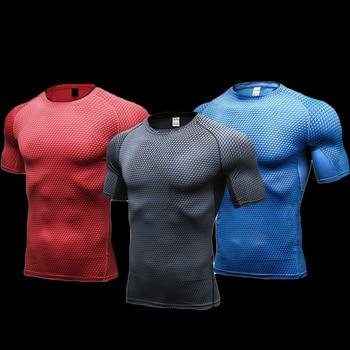 Quick Dry Fitness Tights Gym Shirt Men workout shirt Sport Top Soccer Jerseys Running T Shirt