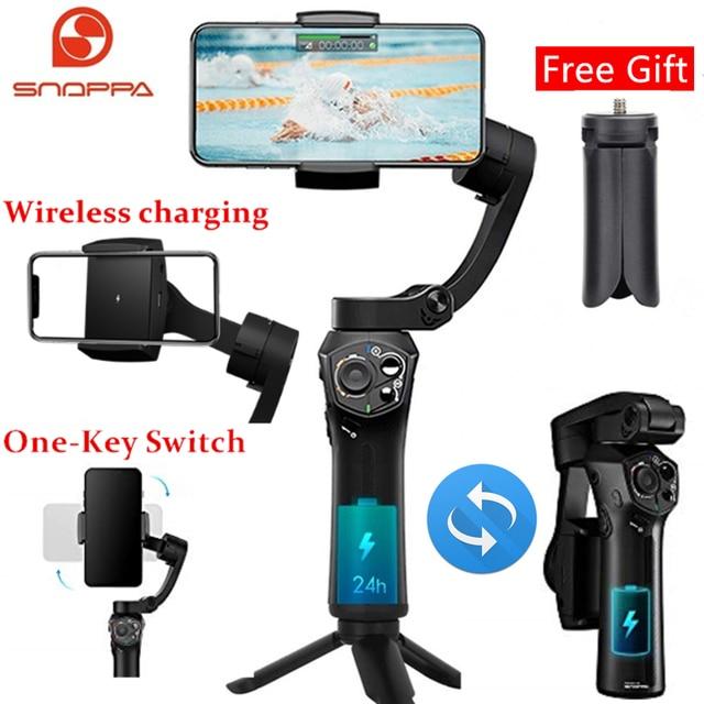 Snoppa Atom katlanabilir cep boyutlu 3 eksen Smartphone el Gimbal sabitleyici GoPro akıllı telefonlar, kablosuz şarj