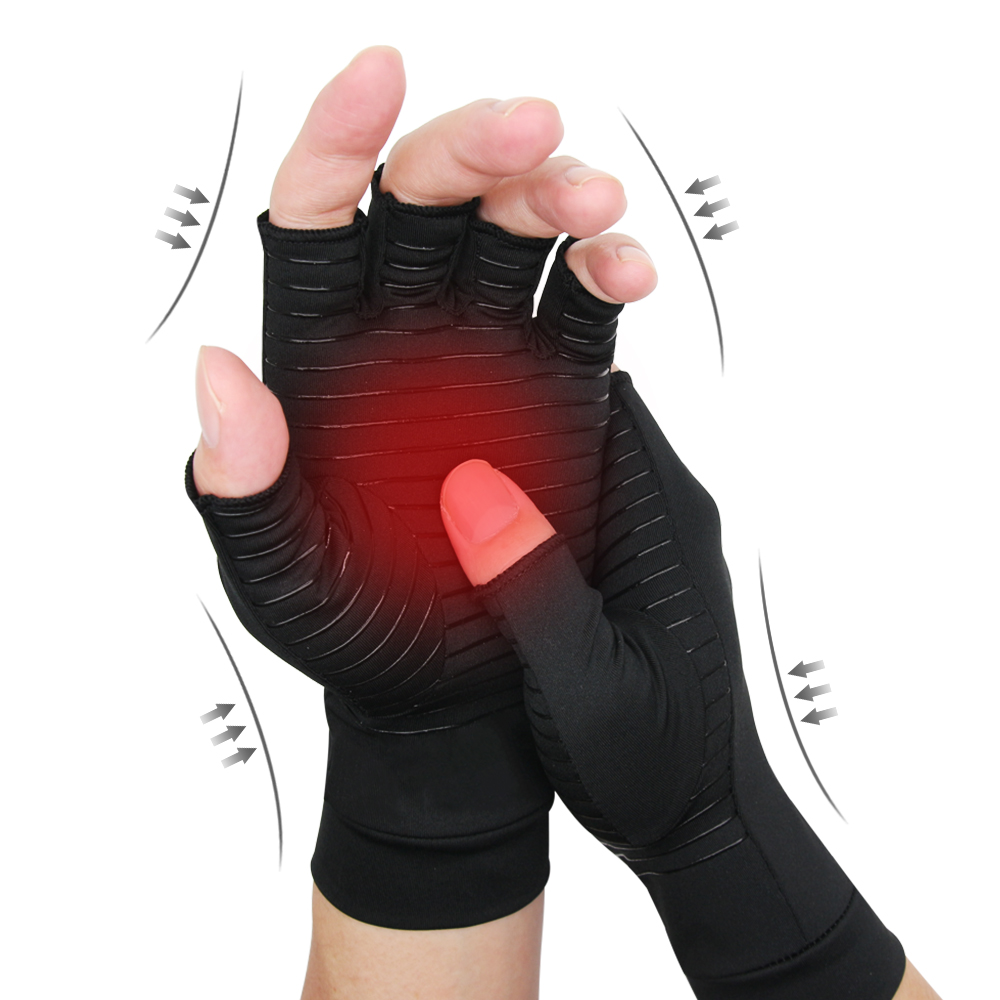 1 Pair Compression Arthritis Gloves For Women Men Joint Pain Relief Half Finger Brace Therapy Wrist Support Anti-slip