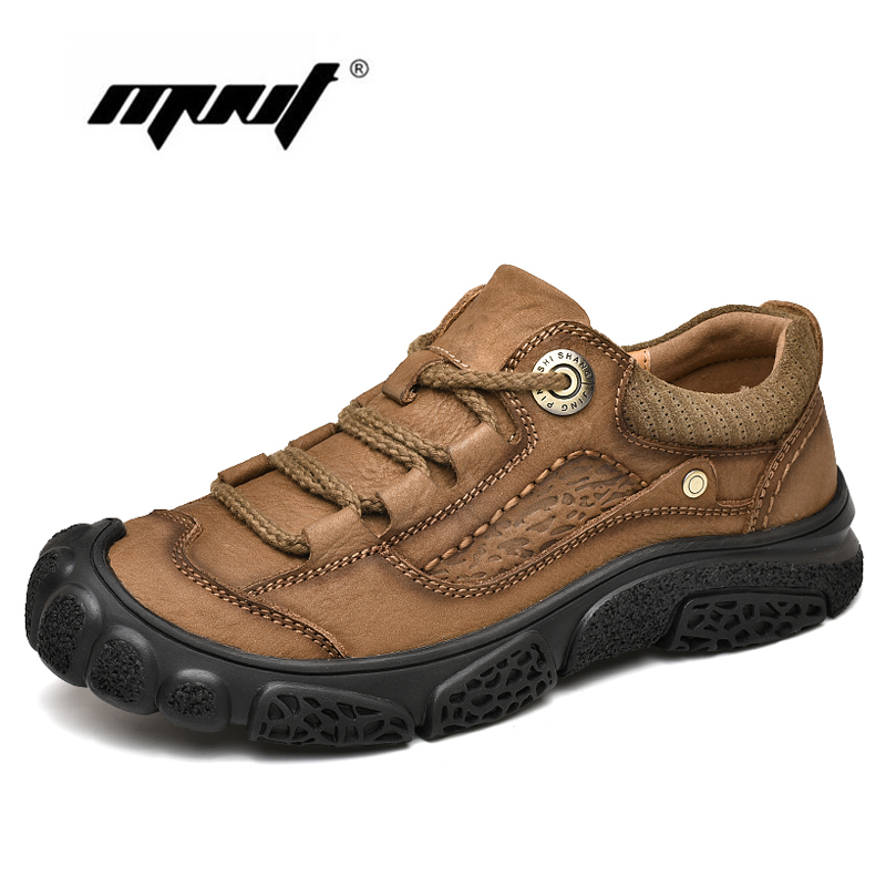 Top Quality Natural Leather Shoes Men Large Sizes Lace Up Men Casual Shoes Comfortable Outdoor Flats Shoes