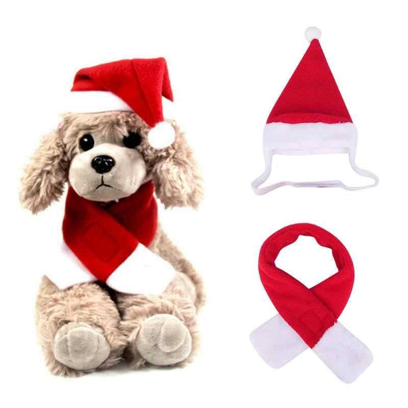 크리스마스 애완 동물 강아지 고양이 산타 레드 스카프 모자 망토 머리띠 애완 동물 강아지 겨울 크리스마스 파티 새해 복장 코스프레 의상 선물