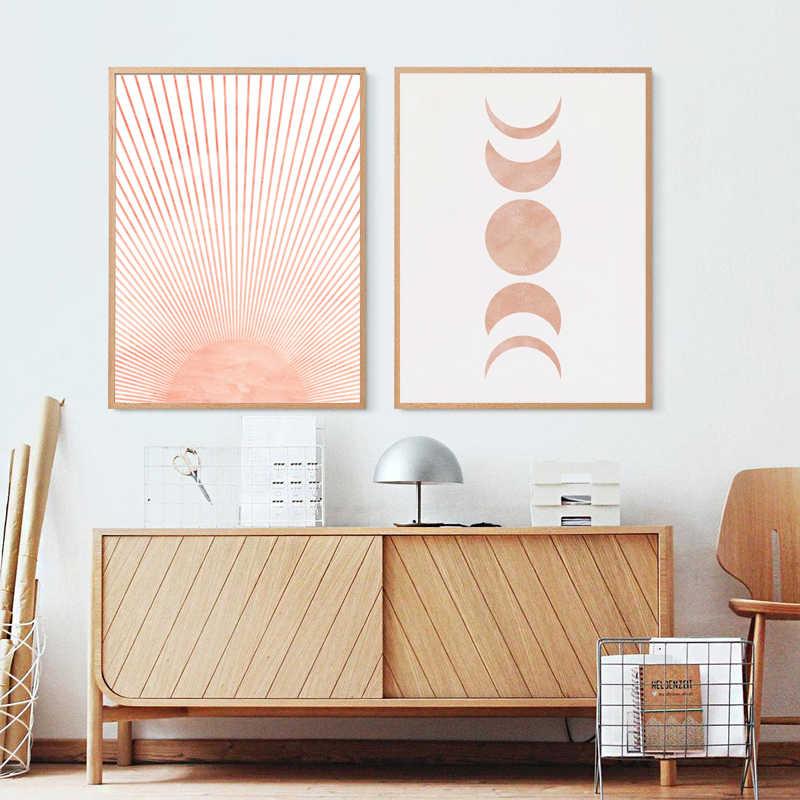 Quadro de parede moderno, arte de parede com estampa de lona, imagem neutra, decoração boho, abstrato, pintura de arte solar, poster de lua, casa decoração