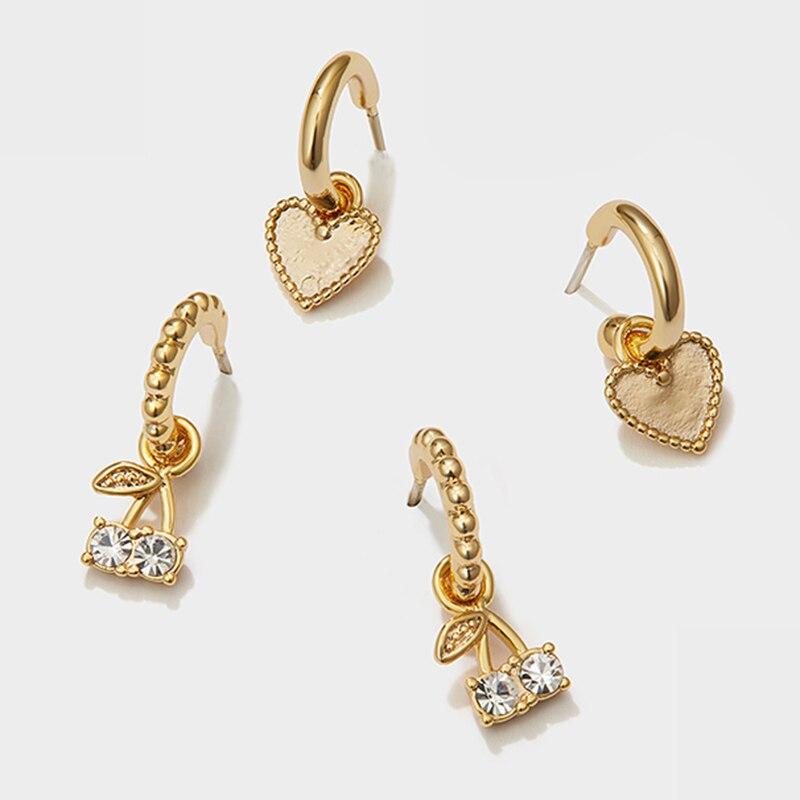 Peri'sBox 4Pcs/Set Love Heart Gold Small Hoop Earrings Cherry Rhinestone Earrings for Women Cute Romantic Earrings 2020 Trendy