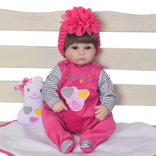 цены Boneca bebes reborn 45cm silicone skin and cloth body reborn baby dolls toys for children gift real Simulation education props