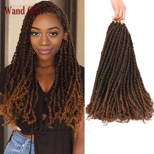Wand Curl Passion Spring Twists Synthetic Crotchet Hair 18inch Long Handmade Braids Black Brown Ombre Braiding Hair Extensions