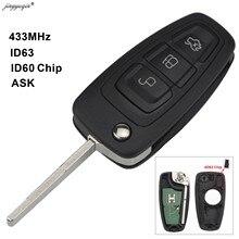 Jingyuqin 3 кнопки 4D63 4D60 чип 433 МГц ASK Флип брелок для Ford C-Max Focus Fiesta Mondeo пульт дистанционного управления HU101 Blade