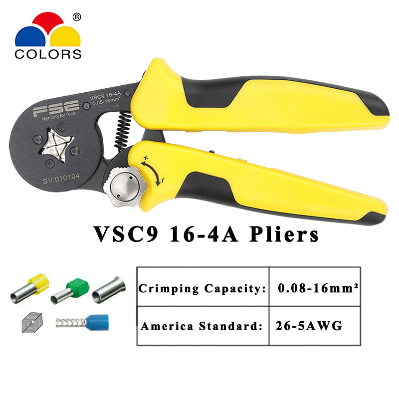 VSC9-16-4A 0 08-16mm 2 23-5AWG Adjustable Precise Crimp Pliers Tube Bootlace Terminal Crimping Hand Tool HSC9-16-4A