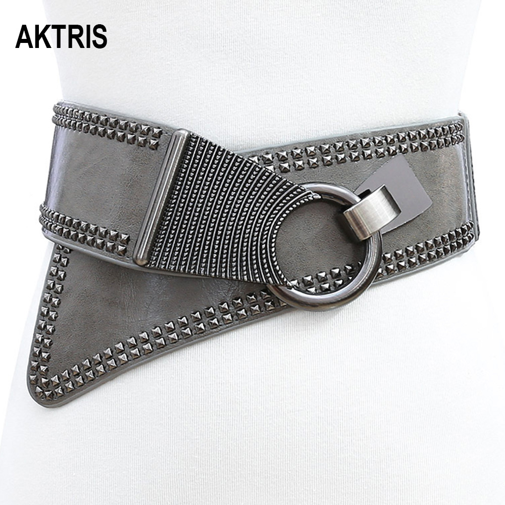 AKTRIS Women's Personalized Punk Willow Elastic Wide Waistband Genuie Leather Cummerbunds Ladies Fashionable Overcoat Belt AK005