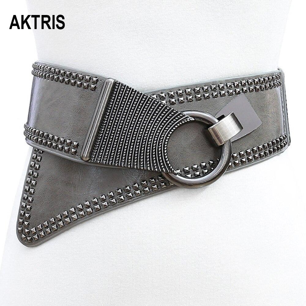 AKTRIS Women's Personalized Punk Willow Elastic Wide Waistband Genuie Leather Cummerbunds Ladies Fashionable Overcoat Belt AK005