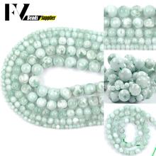 4 6 8 10 12mm naturalny klejnot zielony koraliki Angelite okrągły element dystansowy kamień koraliki do tworzenia biżuterii DIY bransoletka akcesoria naszyjnikowe 15 #8243 tanie tanio NONE Okrągły kształt Moda FV1657 Natural Gem Green Angelite Beads Bracelet Necklace Jewelry DIY Beads For Jewelry Making