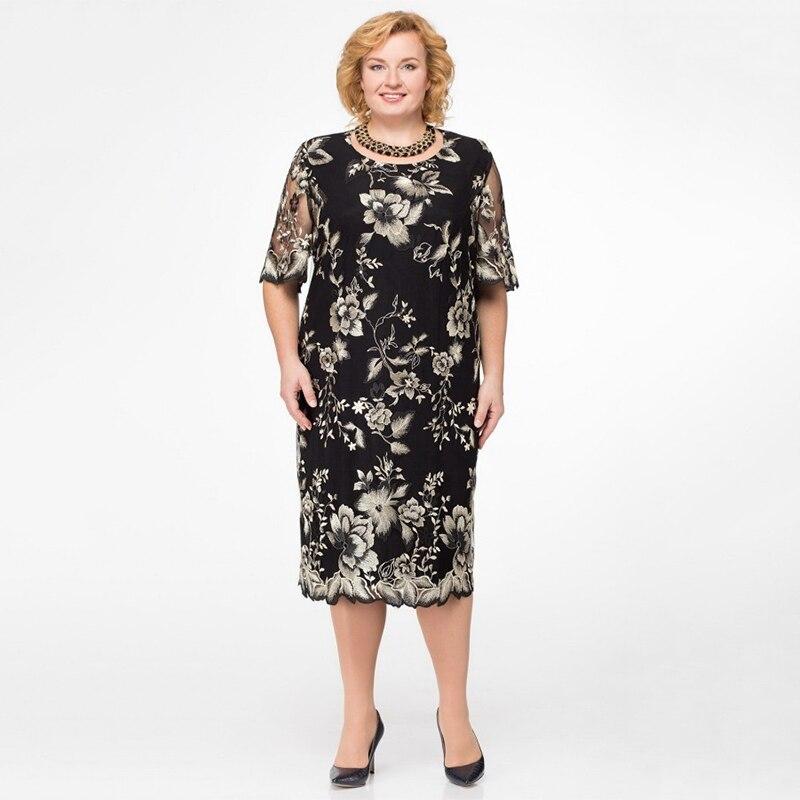 M-5XL Womens Midi Dress 2020 Summer Office Lady Half Sleeve Casual Floral Print Plus Size Dresses Elegant Vestidos Robe Femme
