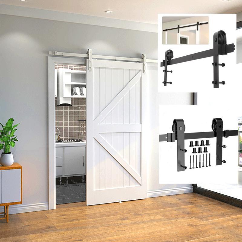 200 см деревенский черный классический оборудование для раздвижной двери сарая Barn деревянные двери, раздвижные двери сарая трек комплект ро...