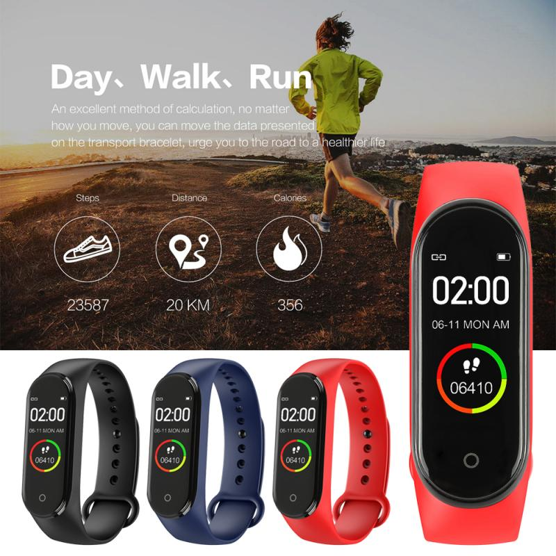 Waterproof Pedometer M4 Smart Bracelet Health Wristband Heart Rate Monitor Sports Health Watch Walk Step Counter Tracker Fitness
