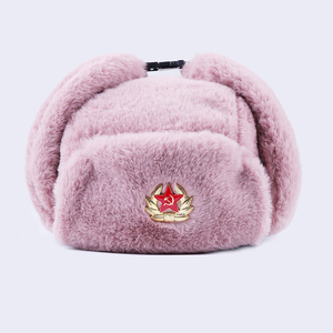 Image 4 - Soviet Badge Ushanka Russian Men Women Winter Hats Faux Rabbit Fur Army Military Bomber Hat Cossack Trapper Earflap Snow Ski Cap