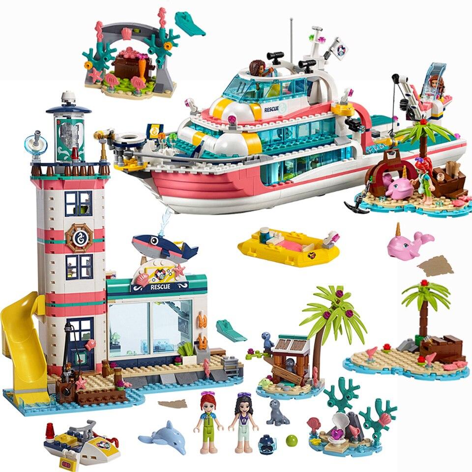 2020 New Friends Girl Lepining Friends Lighthouse Dolphin Rescue Center Building Block Friends 41380 Brick Toys Girls Toys Blocks    - AliExpress